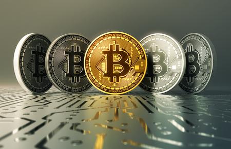 Gouden en zilveren virtuele munten Bitcoins op printplaat