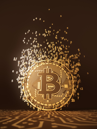 Virtual Coin Bitcoin Emits Particles In The Form Of Numbers Stock Photo