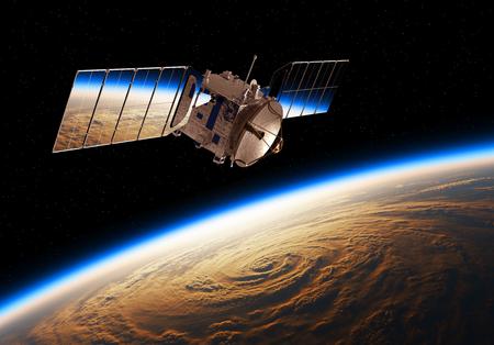 Riflessione del pianeta terra in pannelli solari di un satellite spaziale Archivio Fotografico - 89913826