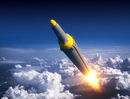 青空に北朝鮮の弾道ロケット