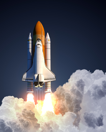 Space Shuttle Launch On Blue Background