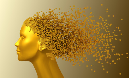 Gold Head Of Woman And 3D Pixels As Hair