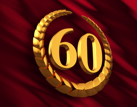 Anniversary Golden Laurel Wreath And Numeral 60 On Red Flag 스톡 콘텐츠
