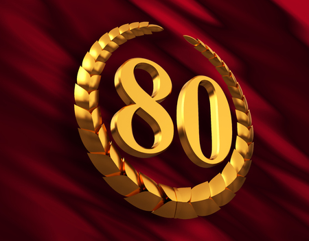 Anniversary Golden Laurel Wreath And Numeral 80 On Red Flag