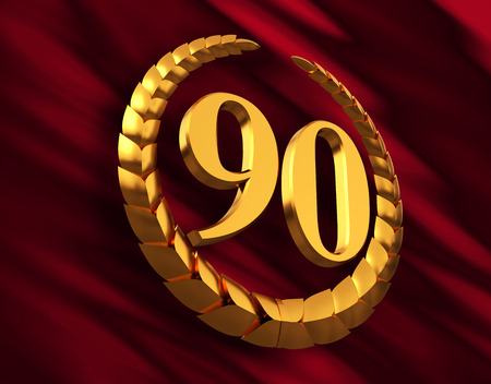Anniversary Golden Laurel Wreath And Numeral 90 On Red Flag Stock fotó