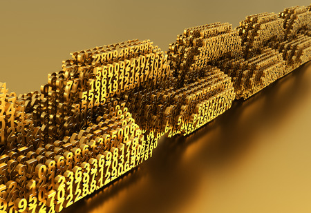 Concept Of Blockchain. Gold Digital Chain Of Interconnected 3D Numbers Stock Photo