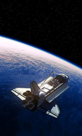Space Shuttle Orbiting Planet Earth Archivio Fotografico - 96674314