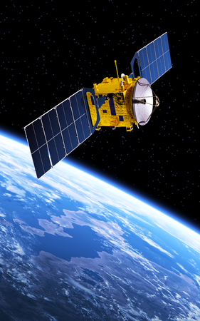 Communication Satellite Orbiting Planet Earth
