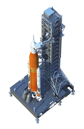 Space Launch System With Launchpad On White Background