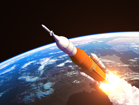 Space Launch System Over The Earth
