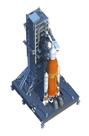 Space Launch System With Launchpad Over White Background