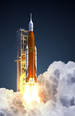 Space Launch System Takes Off On Blue Background