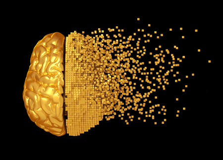 Desintegration Of Golden Digital Brain On Black Background