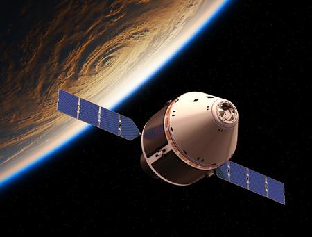 Veicolo di esplorazione dell'equipaggio in orbita attorno al pianeta Terra. Illustrazione 3D.
