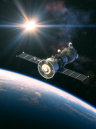 Russian Spacecraft In The Rays Of Light