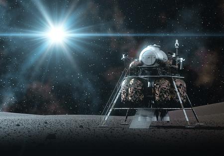 Space Lander On The Rays Of Light. 3D Illustration.