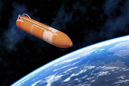 Space Shuttle External Tank Above Planet Earth. 3D Illustration.
