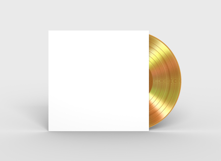 Gold Vinyl Record In White Paper Case 스톡 콘텐츠