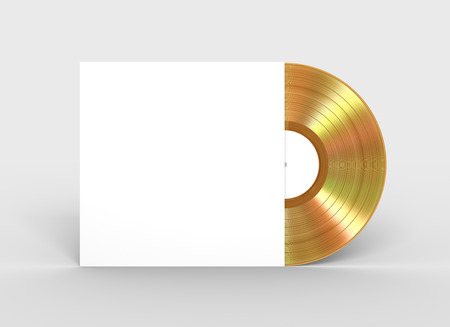 Gold Vinyl Record In White Paper Case Stock Photo