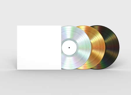 Platinum, Gold And Black Vinyl Records And White Paper Case Banque d'images - 107539732