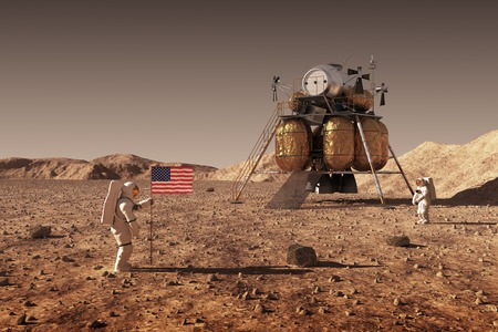 Astronauts Set An American Flag On The Planet Mars
