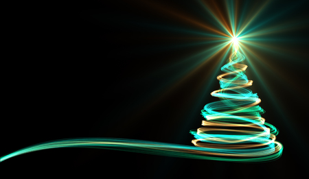 Christmas Tree From Yellow, Blue And Green Neon Streaks