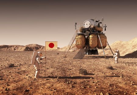 Astronauts set and Japanese flag on Mars