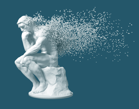 Désintégration du penseur de la sculpture sur fond bleu Banque d'images