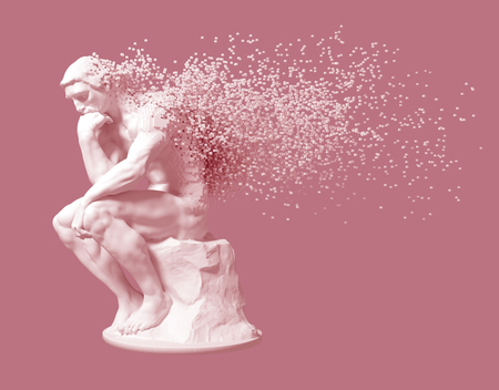 Desintegration Of Sculpture Thinker On Pink Background
