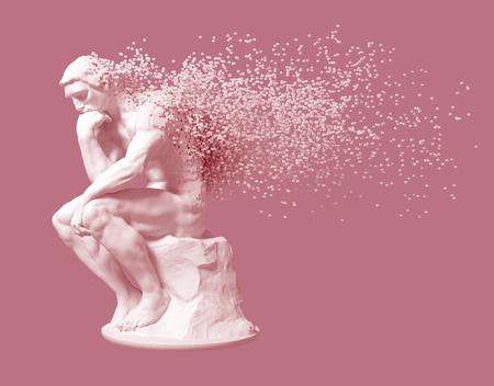 Desintegración del pensador de la escultura sobre fondo de color rosa