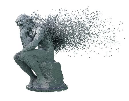 Désintégration du penseur de sculpture en métal numérique sur fond blanc. Illustration 3D. Banque d'images