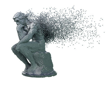 Desintegration Of Digital Metal Sculpture Thinker On White Background. 3D Illustration.