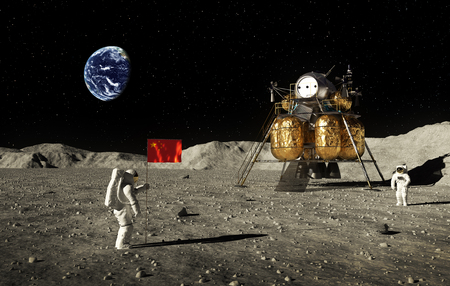 Astronauts Set An Chinese Flag On The Moon Stockfoto