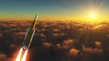 Sistema di lancio spaziale americano nei raggi dell'alba Archivio Fotografico