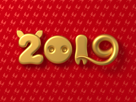 Concept 2019 With Golden Numbers As Pig Ears, Nose, Leg And Tail On Red Background. Stockfoto