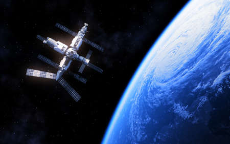 Russian Space Station And Blue Planet Earth