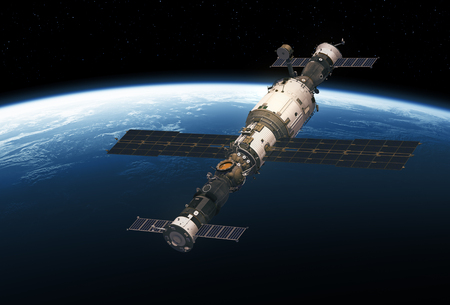 Space Station And Spacecrafts Orbiting Planet Earth