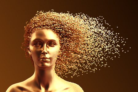 Gold Head Of Young Woman And 3D Pixels As Hair On Brown Background Stockfoto