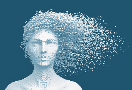 White Pixelated Head Of Woman And 3D Pixels As Hair On Blue Background
