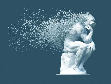 Penseur de sculpture avec des lunettes VR désintégré en pixels 3D sur fond bleu