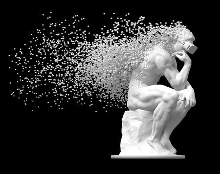 Penseur de sculpture avec des lunettes VR désintégré en pixels 3D sur fond noir