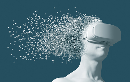 Man Wearing Virtual Reality Glasses Disintegrates On 3D Pixels