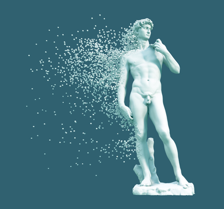 Digital Disintegration Of Sculpture David On Blue Background