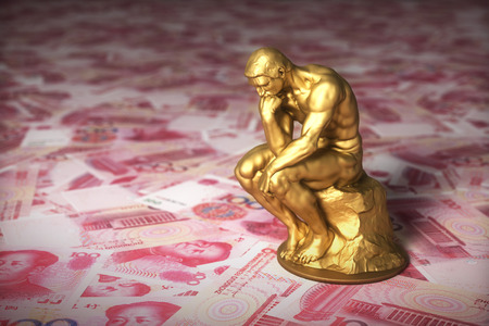 Gold Sculpture Thinker Over Money Chinese Yuans Stockfoto