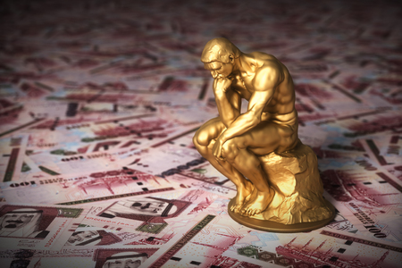 Gold Sculpture Thinker Over Money Saudi Riyals