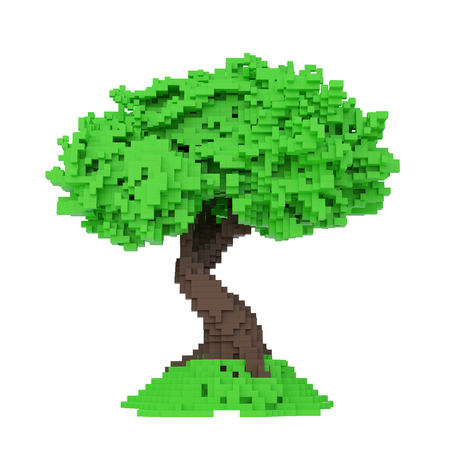 Digital Pixelated Tree Isolated On White Background