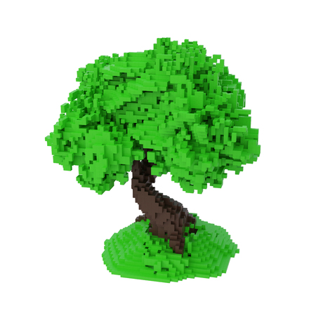 Green Digital Pixelated Tree Isolated On White Background