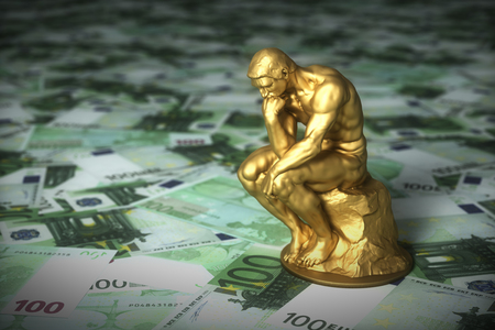 Golden Sculpture Of A Thinker Who Thinks Over Euro Banknotes