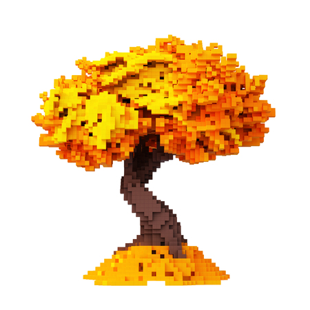 Digital Pixelated Autumn Tree Isolated On White Background