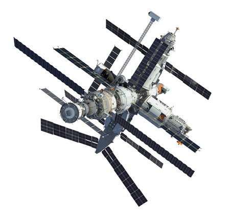Russian Space Station Isolated Over White Background Stockfoto